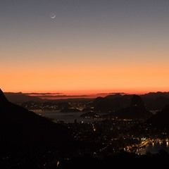 Iconic statue of Christ the Redeemer seen during sunrise over Rio de Janeiro