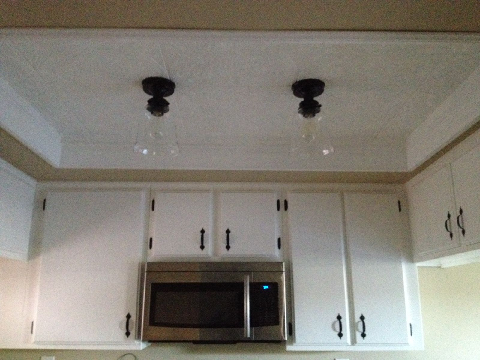 kitchen ceiling tiles delta faucets home depot tile styrofoam light update from old