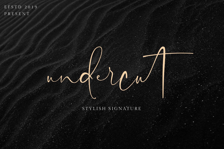 Undercut stylish signature script font. A simple