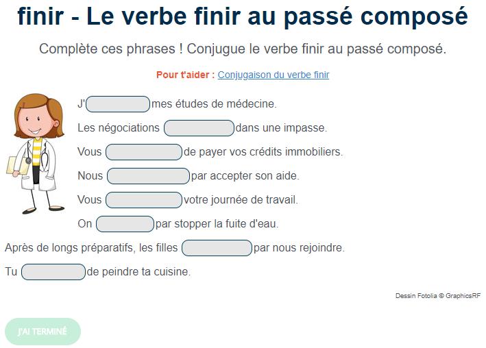Le Verbe Finir Au Passé Composé Exercice De Français Cm1