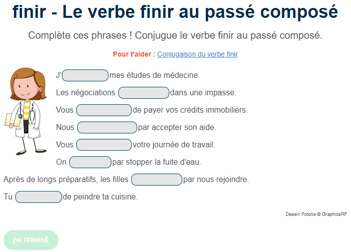 Exercice De Conjugaison Le Verbe Finir Au Passe Compose Passe Compose Exercice De Francais Cm1 Exercices Conjugaison