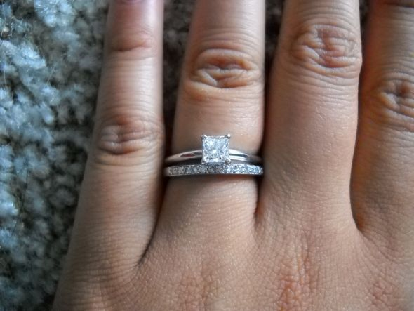 New something like this princess cut with plain band then a sparkly wedding