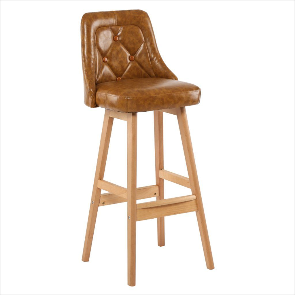 Solid Wood Bar Chair Vintage Armchair Household Wood Color Pu Bar Stool High Stool Front Desk Chair Decorative Chair Armchair Vintage Decorative Chair Wood Bar