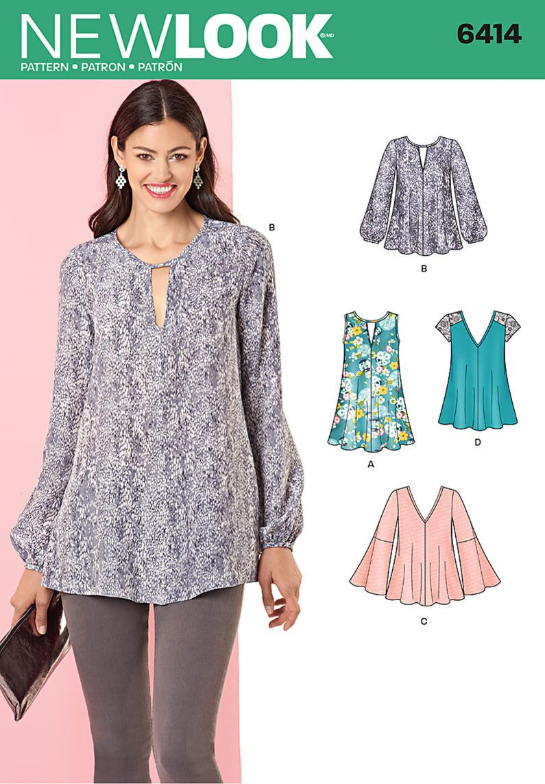 Nl6414 misses tunic and top with neckline variations jaycotts nl6414 misses tunic and top with neckline variations jaycotts tunic sewing patternstunic jeuxipadfo Choice Image