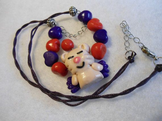 Final Fantasy moogle red & purple hearts Necklace by Margyko, $8.00