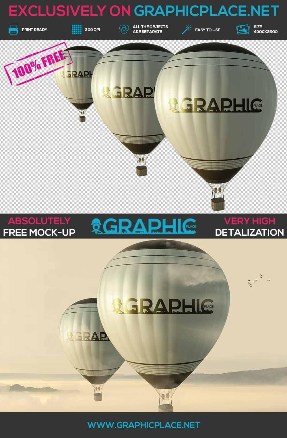 Download Air Balloons Free Psd Mockup Graphicplace Mockup Free Psd Mockup Psd Free Psd