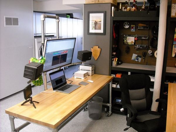 Home Office Dual Desk Setup: Dual Pole Mounted Monitor Desk #deskweek #KeeKlamp