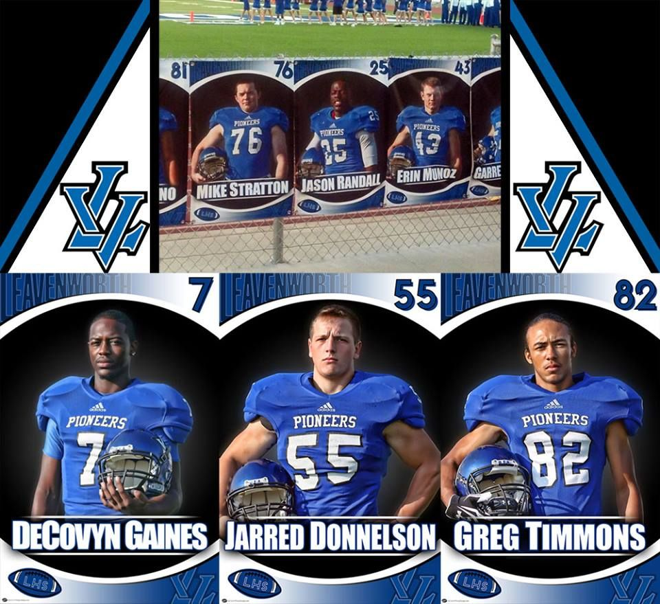 A big thanks to Leavenworth High School from the Leavenworth, KS for allowing us to create their custom football banners to help recognize for their senior football players. The custom football banners feature a photo of the player with their name in team colors. Also a big thanks to Jeanette for helping coordinate and make it all happen (and sending in the photo of the banners)! Looking for something to recognize your senior football players for a season gift? Memories made special…forever!