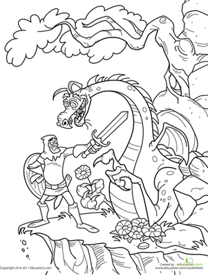 Knight And Dragon Worksheet Education Com Dragon Coloring Page Coloring Pages Castle Coloring Page