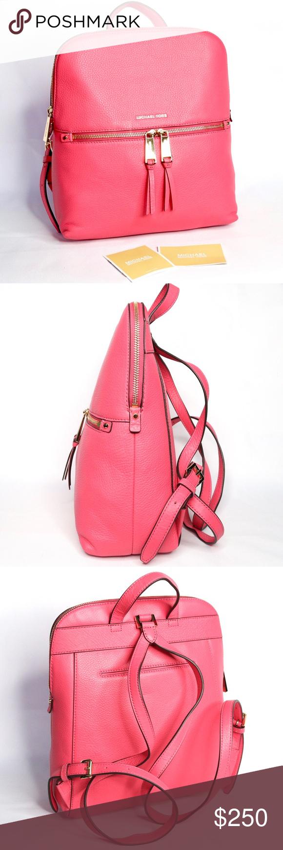 1c1da4a1c7faa6 NWT Michael Kors Rhea Rose Pink Slim Backpack Beautiful & brand new Michael  Kors Slim Rhea Backpack. Features: • 100% Leather - Rose Pink Color •  Gold-Tone ...
