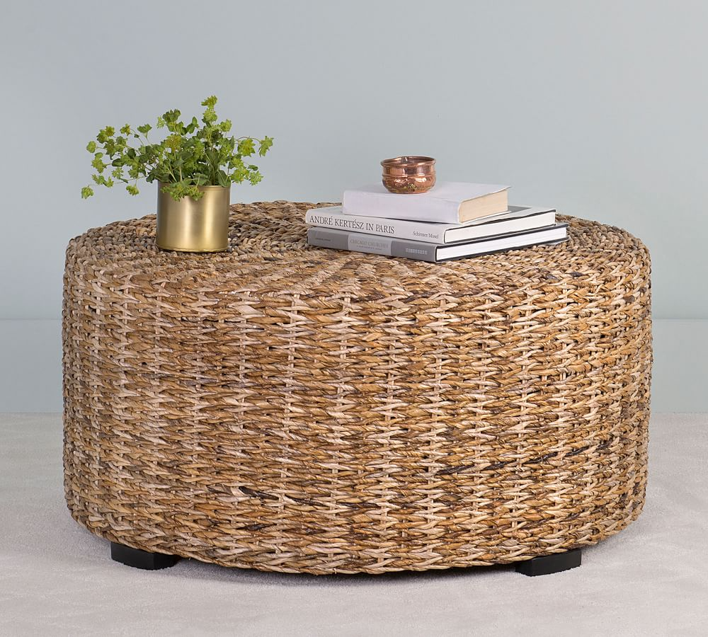 Woven Abaca Round Coffee Table Pottery Barn In 2021 Coffee Table Pottery Barn Wicker Coffee Table Round Coffee Table [ 900 x 1000 Pixel ]