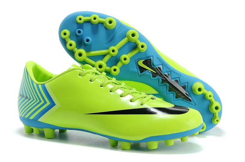 Nike Mercurial Vapor X AG Soccer Cleats 2013 Cheap Fluorescent Green SkyBlue  Black