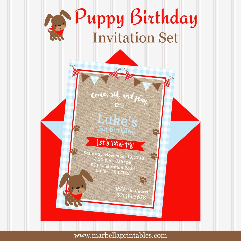 Boy Puppy Birthday Party Invitation/Boy Pawty Birthday/Dog Theme ...