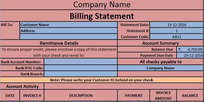 Download Billing Statement Excel Template Statement Template