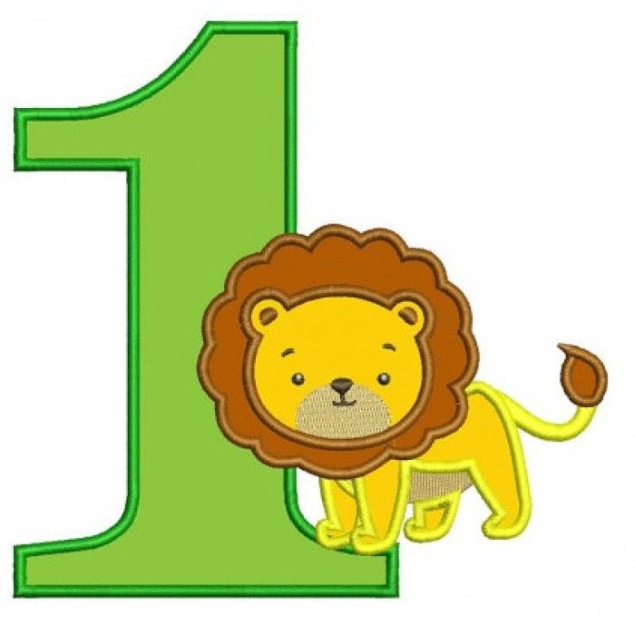 Birthday Number One (1) Little Lion Animal Machine ...