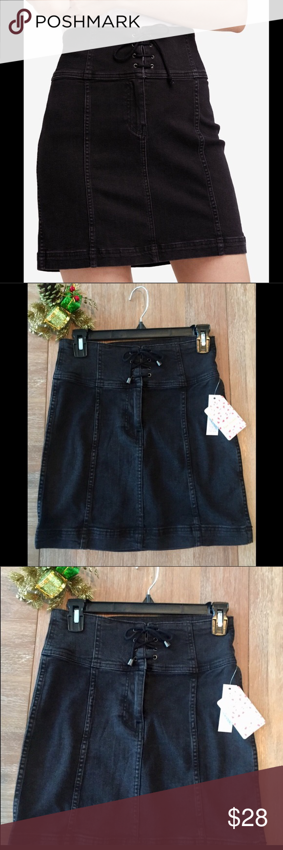 55f317a6b9 Free People Modern Femme Corset Mini Skirt Free People Modern Femme black  denim miniskirt. Give your mini a fresh update with this modern twist.