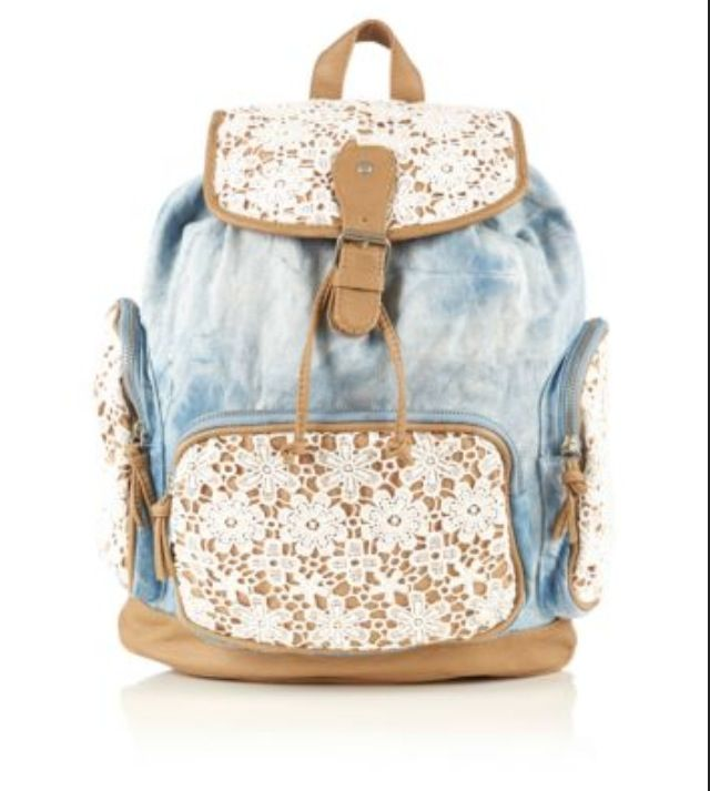00b27fd85e Cute tumblr jean backpack with white lace