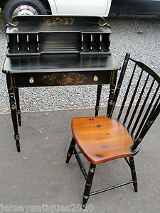 Vintage Hitchcock Desk With Cubbys And Matching Chair Painted