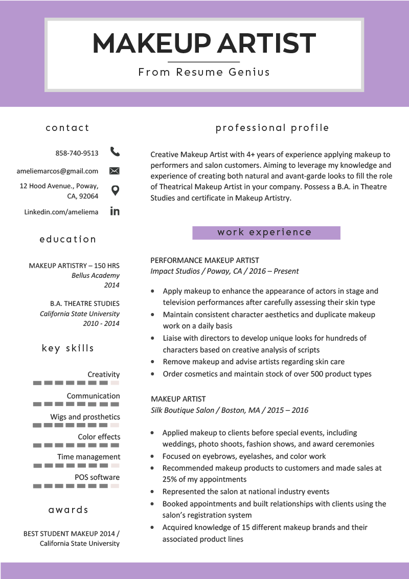 Makeup Artist Resume Sample & Writing Tips Makeup artist