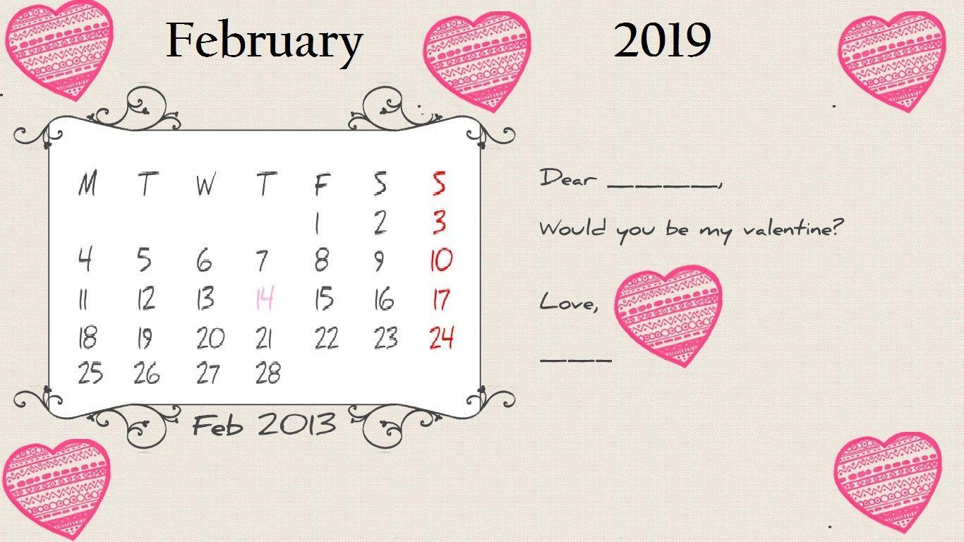 February Cute Desktop Calendar 2019 Cute February 2019 Desktop Calendar | Calendar Designs | Calendar
