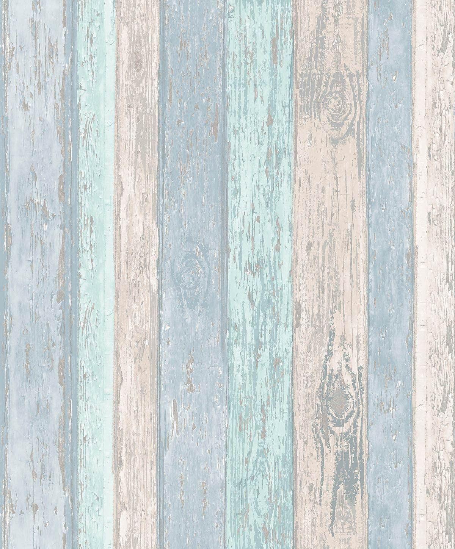 Beach Hut Beach Blue Feature Wall Glitter Wallpaper Distressed Wood Wallpaper Wood Effect Wallpaper How To Distress Wood