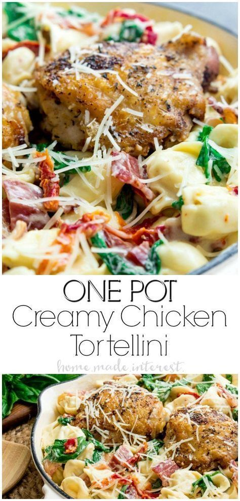 This One Pot Creamy Chicken Tortellini is an easy weeknight dinner of tender chi... -