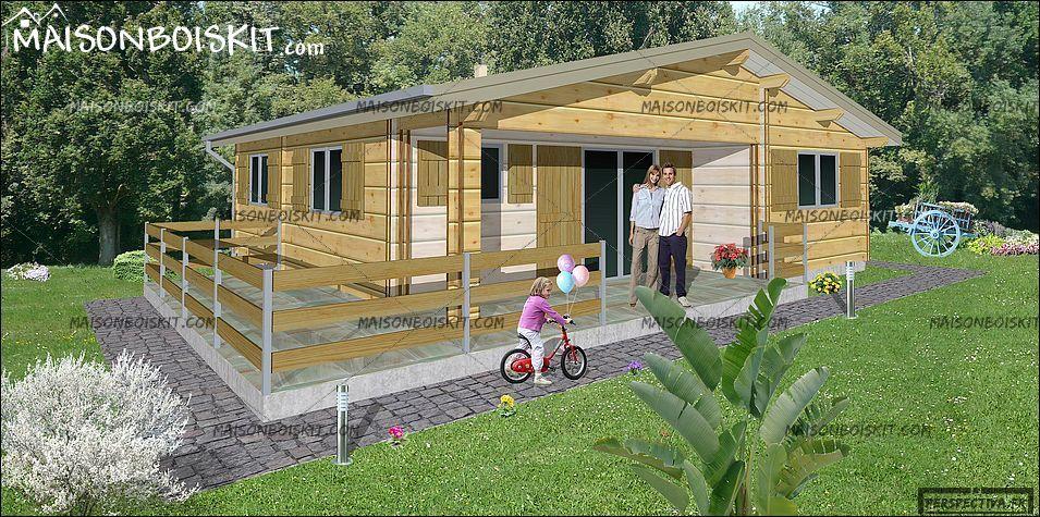 chalet bois en kit 60 m2 3 chambres en 2020 | Chalet bois, Maison bois, Petit chalet en bois
