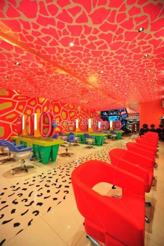 Exquisite Red Hair Salon Interior Ideas All Dreaming Floor Graphics Salon Interior Design Hair Salon Interior