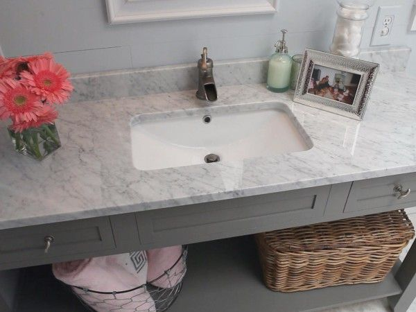 Creative Bathroom Vanity With Marble Countertop And Rectangular