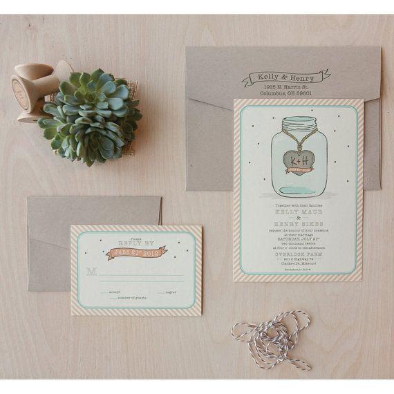 Mason Jar bruiloft uitnodigingen land bruiloft schuur bruiloft Monogram uitnodiging S …