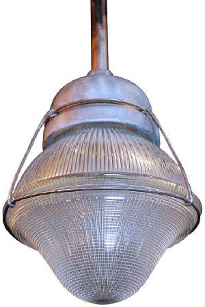 Unique Closed Holophane Industrial Lights. 1930-40's Holophane Prismatic Closed Shade Shop Light with Wire Safety Cage. These are Great as Kitchen Work Island Lighting!