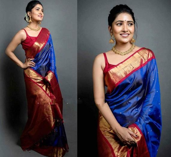 Blue Beautiful Rich pallu saree and blouse for wom