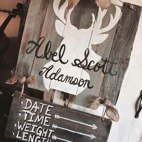 Abel Scott Rustic Deer Themed Baby Door Hanger By