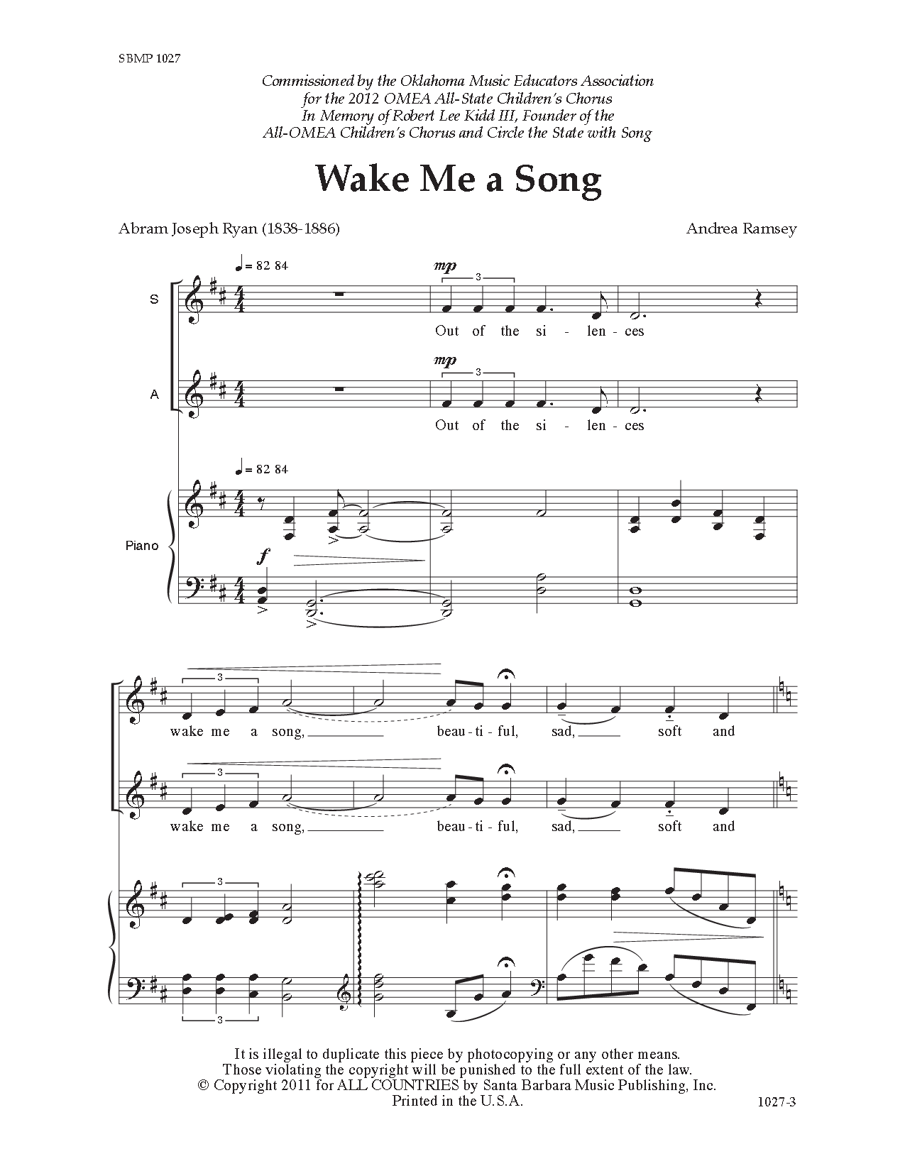 Wake Me a Song (SSA ) by Andrea Ramsey| J W  Pepper Sheet Music