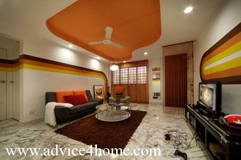 orange-white pop ceiling design in living room - Orange-white Pop Ceiling Design In Living Room Ceiling Design