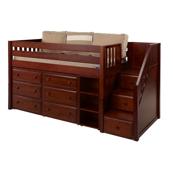 Cool Loft Beds Hardwood Low Loft Bed With Stairs Six Drawers And A Narrow Book Case Low Loft Beds Cool Loft Beds Bunk Beds