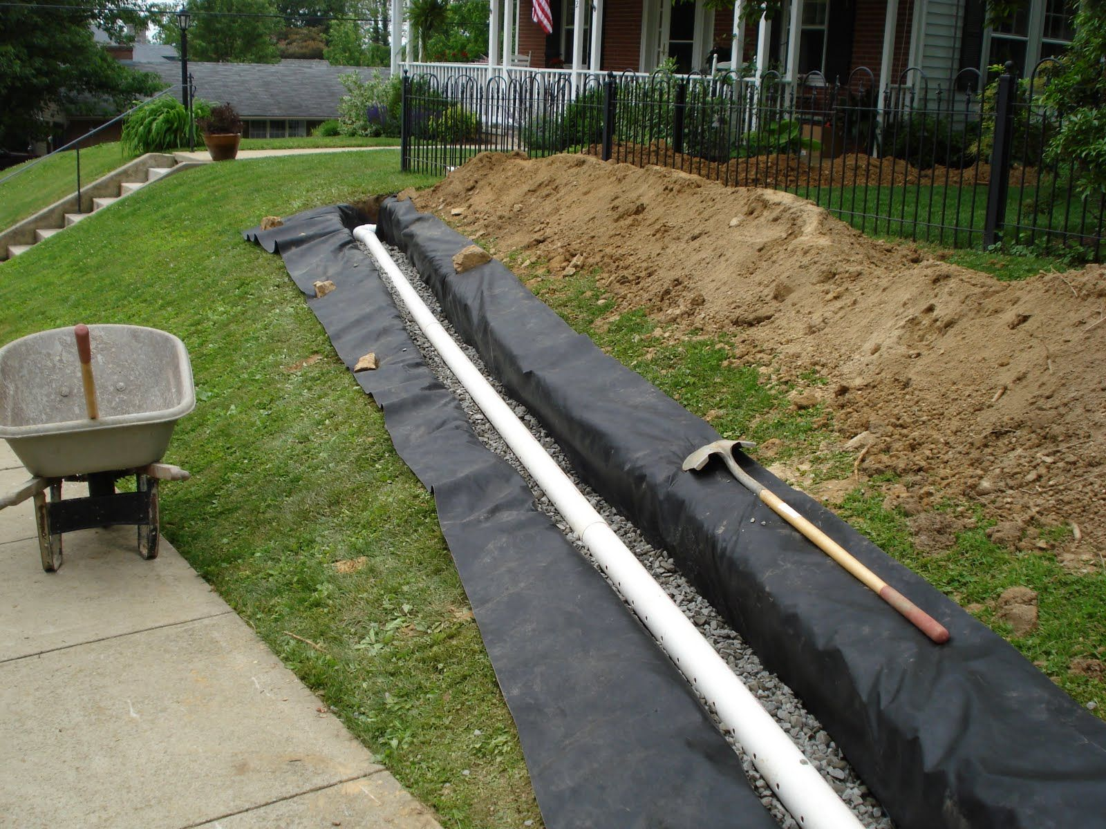 Landscaping design landscape drainage materials landscape for Yard drainage slope