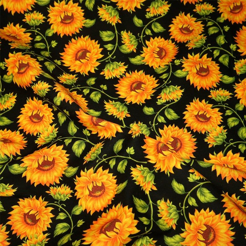 100 Cotton Fabric Golden Sunflower Fabric Watercolor Fabric Black