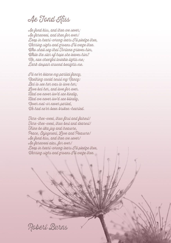 Ae Fond Kiss Robert Burns Robert Burns Scottish Poems Robbie