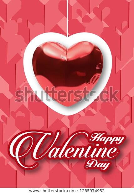 Happy Valentine Daybolloon Hart On Red เวกเตอร สต อก ปลอดค าล ขส ทธ 1285974952 ภาพประกอบ