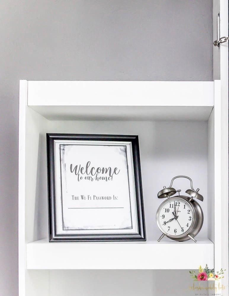 Let your guests know the password by leaving it in their room for them to see! Great way to help your guests feel welcome and at home. Great wifi password finder! #housing #athome #password #guests #guest #passwords #feel #EssentialsHomeDecorMedford