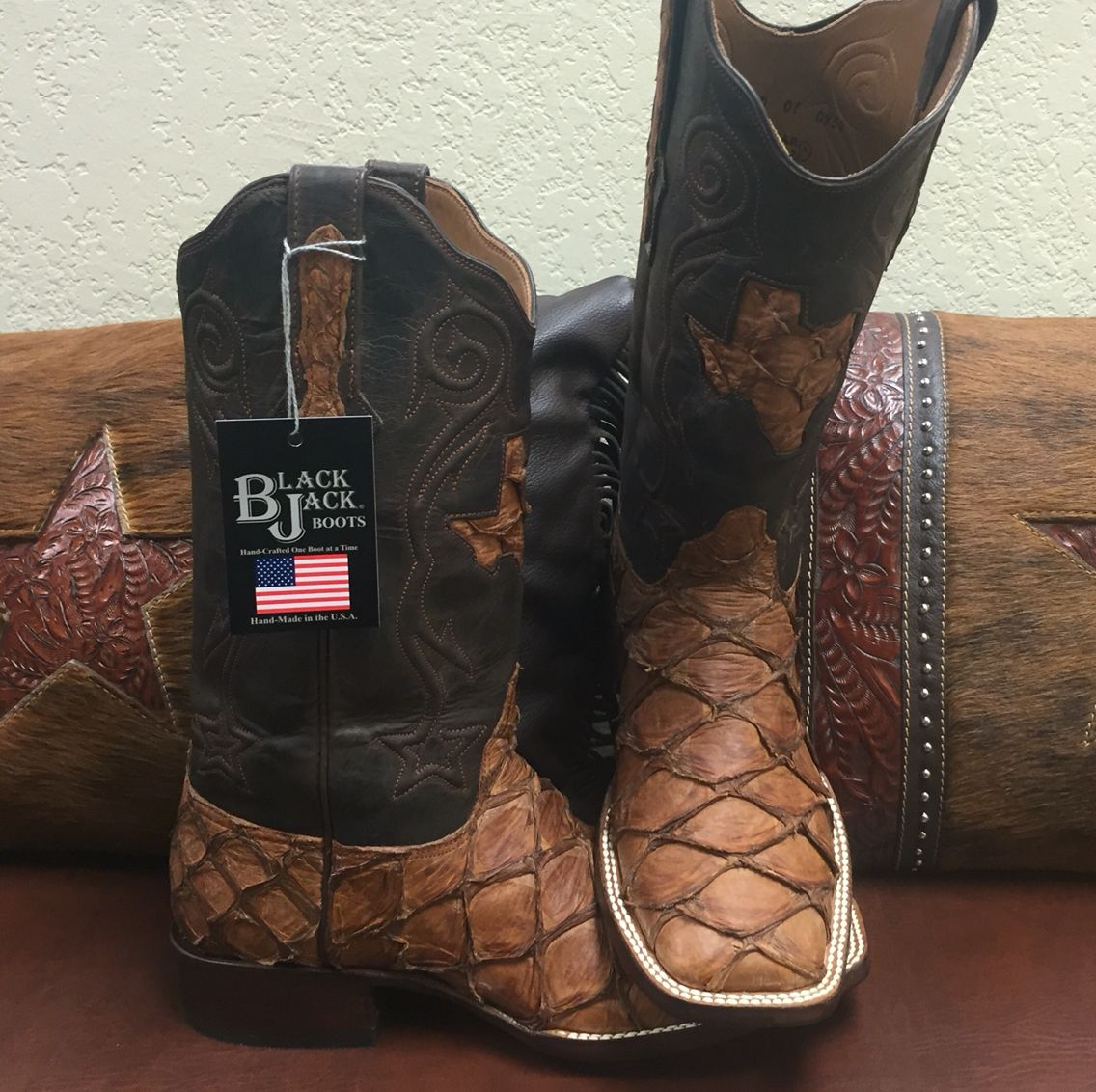 75e0954b09e Custom Hand Made #Blackjack Boots, Made in America. Pirarucu Fish ...