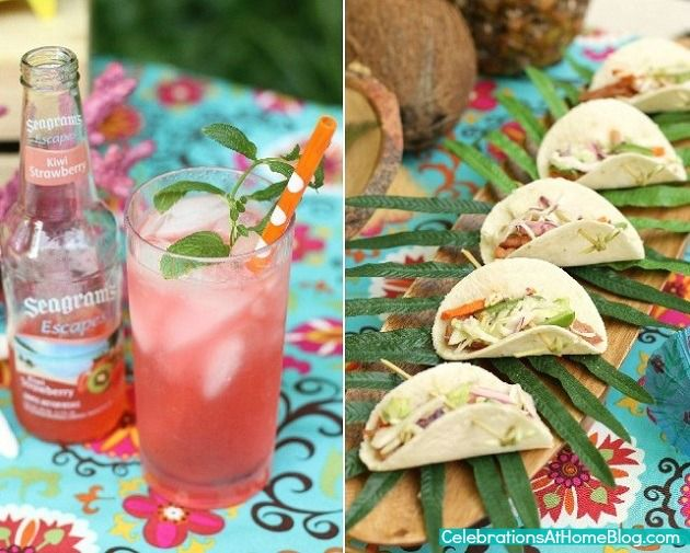 Caribbean Tropical Beach Party Menu: Tropical Themed Party Ideas + FREE Printables