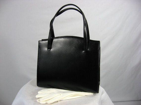 Vintage 1960s Lesco Lona black leather purse by VintageRoseTattoo