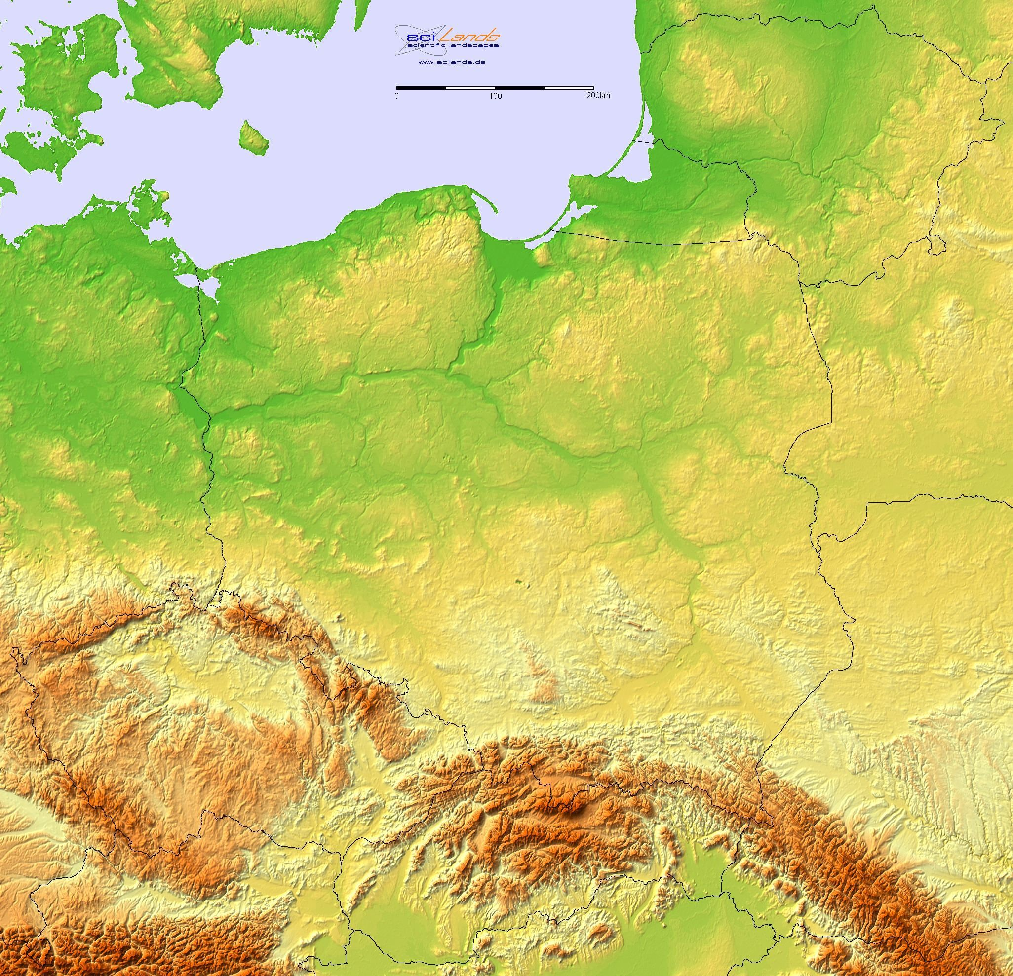 Detailed Terrain Map Of Poland And The Surrounding Region