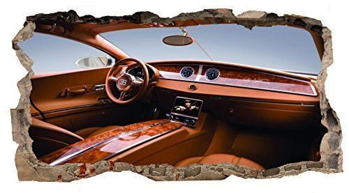 Startonight 3D Mural Wall Art Photo Decor Bugatti on Board Amazing Dual View Surprise Large 32.28 inch By 59.06 inch Wall Mural Wallpaper for Living or Bedroom Cars Collection Wall Art