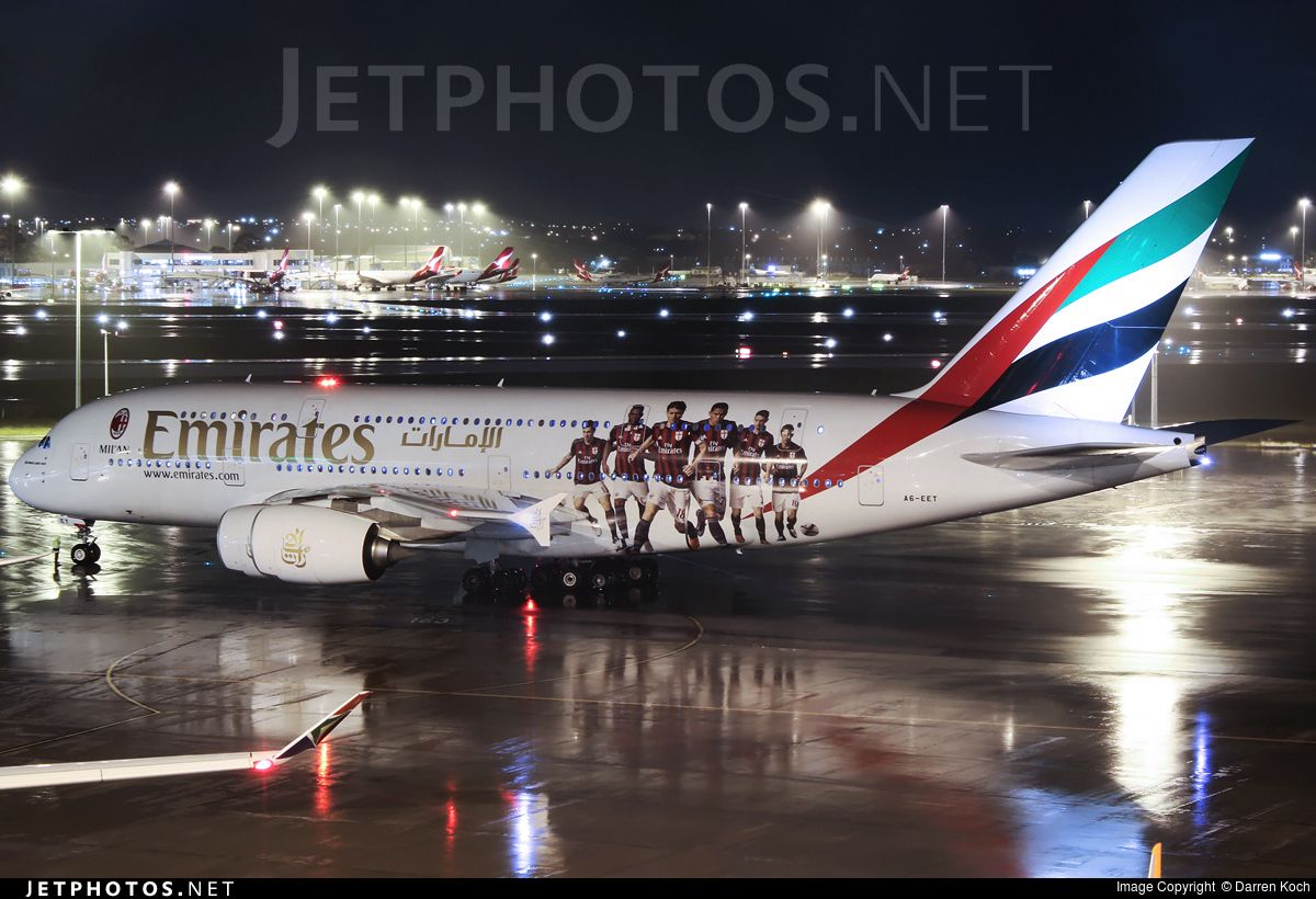 Emirates Airlines (AE) Airbus A380-861 A6-EET aircraft, painted in ''AC Milan'' special colours Mar. - Jun. 2016 & the badge of ''AC Milan'' on the airframe, skating at Australia Perth domestic & International Airport. 12/06/2016. (AC Milan=a professional football club founded in 1899).