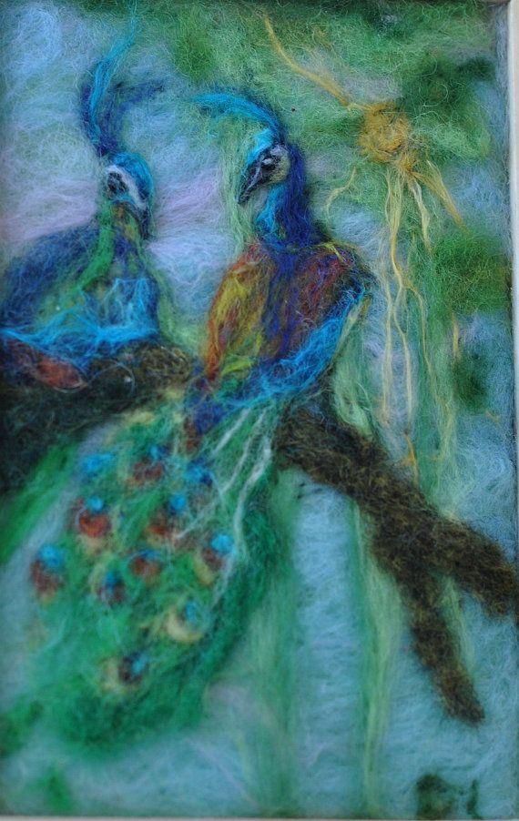 needle felted peacocks