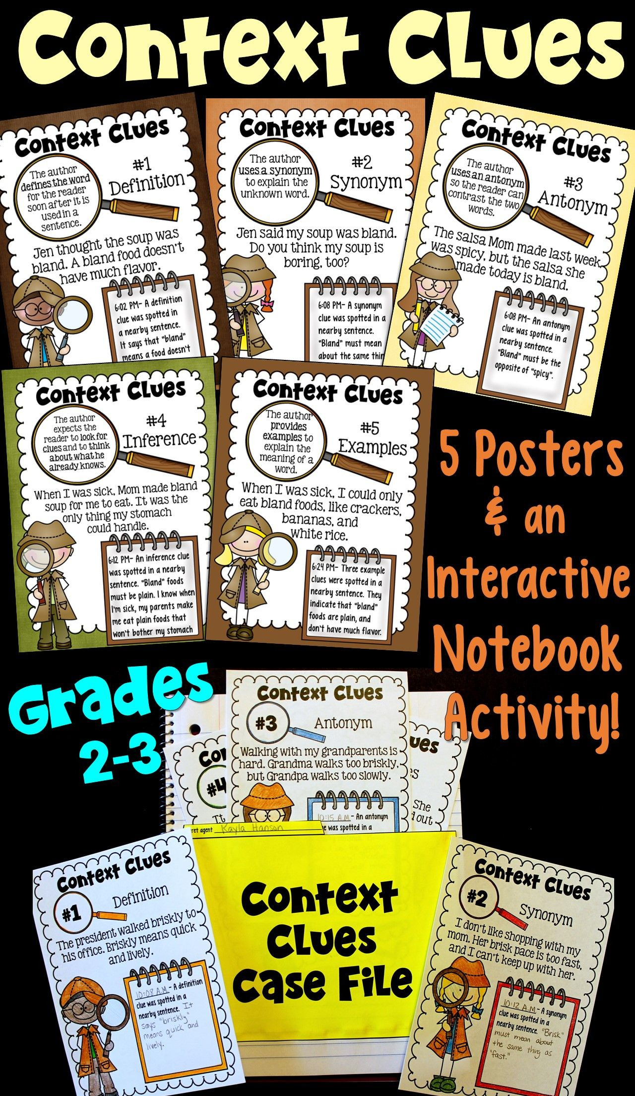 Context Clues Posters And Interactive Notebook Activity