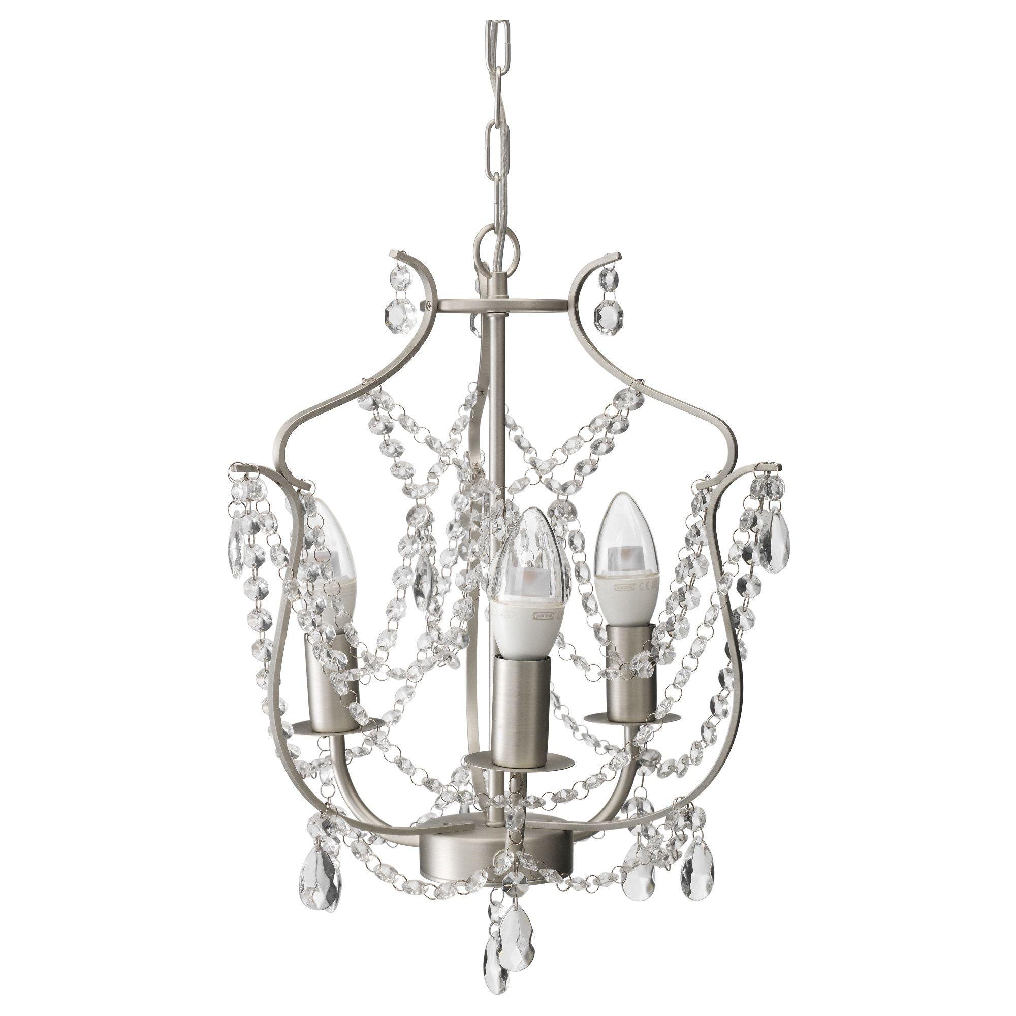 KRISTALLER Ljuskrona, 3 armad silverfärgad, glas | Ikea